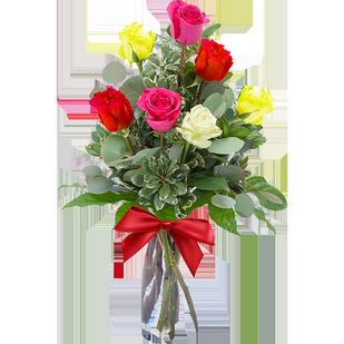 Букет из 7 разноцветных роз